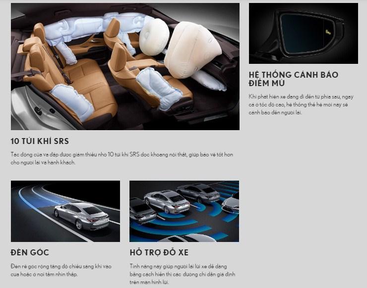 Trang bị an toàn trên Lexus ES250 2019