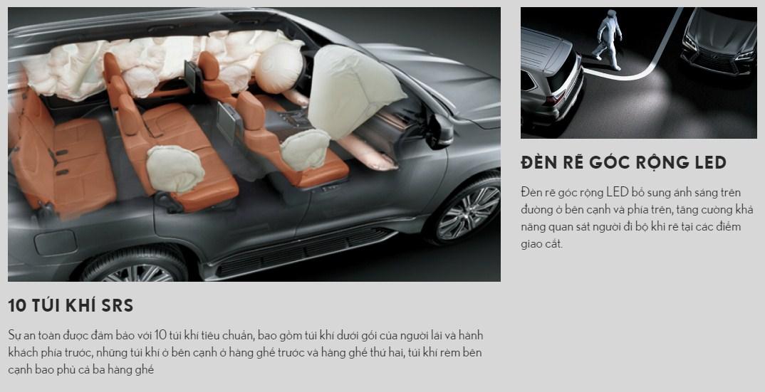 hệ thống túi khí an toàn lexus lx570 super sport
