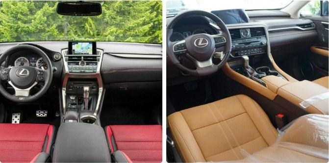 Bên tay trái là nội thất NX200T, bên tay phải nội thất RX350