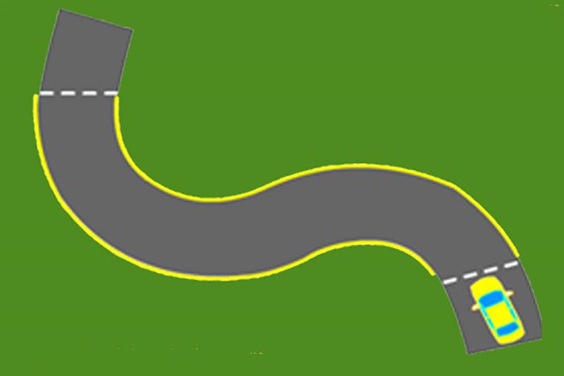 Điều khiển xe qua vòng cua đầu tiên